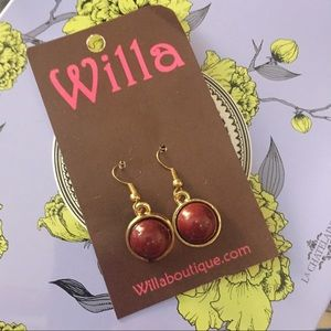 Jewelry - Dark Red Dangling Earrings Boutique NWT